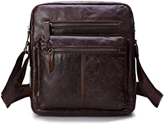 Leather Bag Mens Vintage Men's Leather Single-Shoulder Crossbody Bag Business First Layer Leather Bag High Capacity (Color : Brown, Size : S)