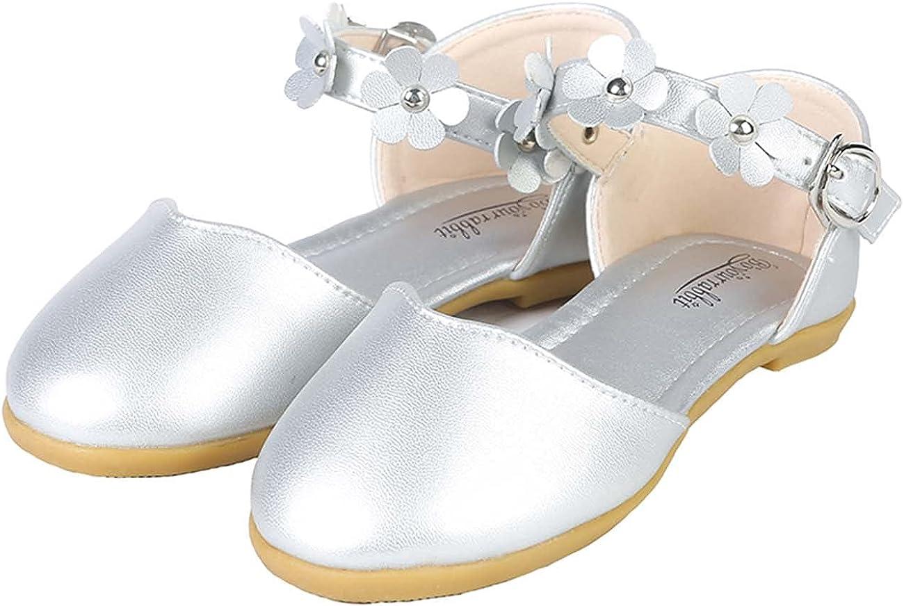 JOEupin Toddler Little Girls Dress Ballet Mary Jane Bow Flat Shoes