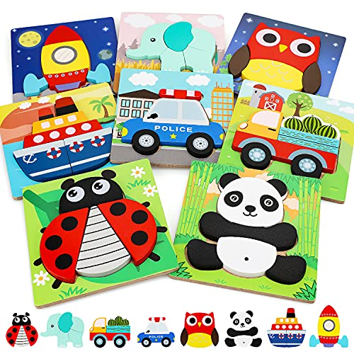 TOY Life 8 Pack Wooden Puzzles for Toddlers- Vehicle Animal Shaped Puzzles Toddler Montessori Toys for 1 2 3 Year Old- Puzzle for Kids Age 2-4- Preschool Learning Educational Toy Gift for Toddler