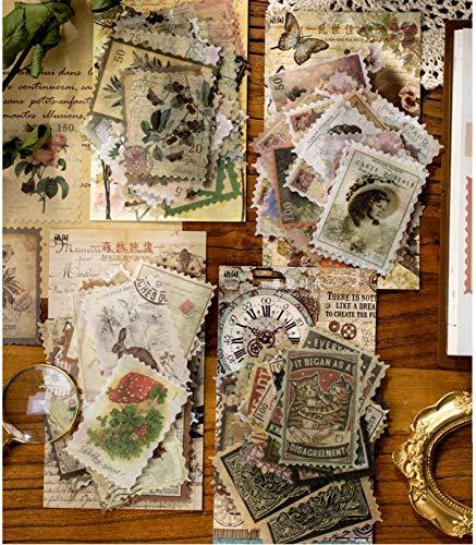 240 Pcs Pegatinas Tema de sello Personajes plantas flores y pájaros edificio para DIY Manualidades Decoración Scrapbooking Álbumes de Recortes Calendarios Tarjetas