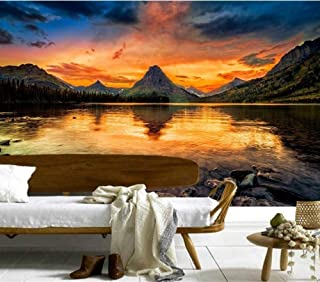 Wallpaper 3D Murals,Mountains Lake Sunrises and Sunsets Nature Wallpapers,Living Room Sofa Tv Wall Children Bedroom,200Cmx140Cm