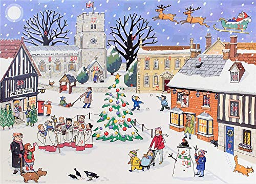 Alison Gardiner Mixed Houses Advent Calendar Cards Pack of 4 Traditional A5 with Envelope