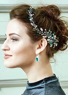 Kercisbeauty Wedding Bridal Green Rhinestones Crystal Headband Bridal Silver Headpiece Women's Evening Party Prom Jewelry Side Hair Piece