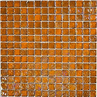 "Amber Glass Tile Mosaic Textured Iridescent Glass Tile Blend 1"" x 1"" for Pool/Spa, Kitchen, Backsplash or Bathroom"