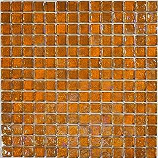Amber Glass Tile Mosaic Textured Iridescent Glass Tile Blend 1