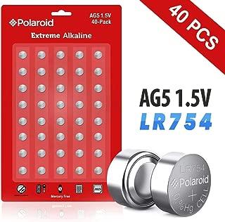 Polaroid Extreme AG5 393 309 193 LR754 LR48 1.5V Button Cell Alkaline Batteries Mercury Free 0% Hg (40-Pack) - 2025 Expiry Date