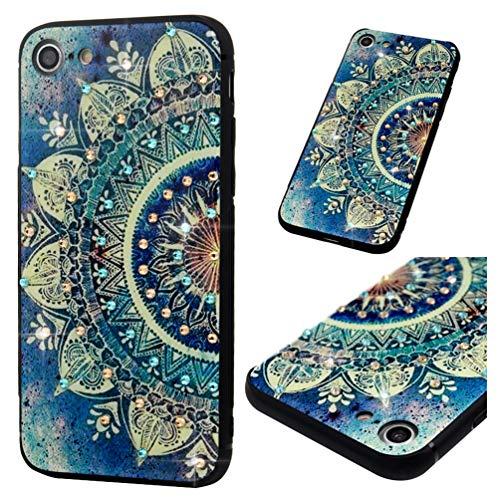 MOTIKO Schutzhülle für iPhone 7, luxuriös, handgefertigt, 3D-Diamanten-Steine, Polycarbonat-Rückseite mit weichem Silikonrahmen, Mandala-Design für iPhone 7, Mandala