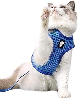 Dotoner Cat Outdoor Walking Harness Set, Pet Vest Harness Breathable Mesh, Adjustable Reflective Cat Chest Straps with Esc...