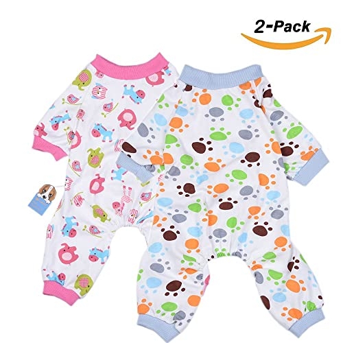 2-Pack Dog Clothes Dogs Cats Onesie Soft Dog Pajamas Cotton Puppy Rompers  Pet Jumpsuits 9b2227195