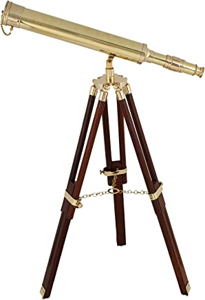 16 pulgadas de Marina Náutica Catalejo Telescopio de Latón de Cuero con Caja De Madera-Regalo Náutica