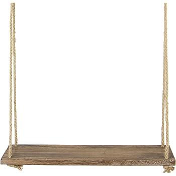 madera estanter/ía para la decoraci/ón del hogar cuerda Estanter/ía decorativa de madera para colgar en la pared soporte B perchas balanc/ín plantas r/ústicas Lailongp M estanter/ías macetero