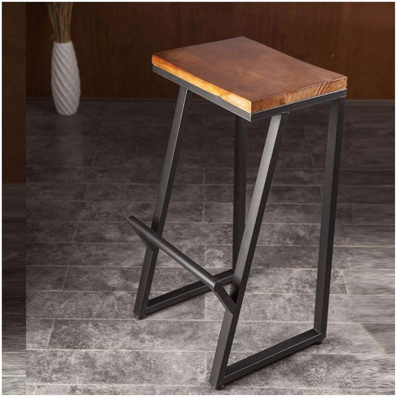 Foot Pedal Metal High Stool, Bar Cafe Bar Stool Wood Solid Wood Bar Stool 0521BAR