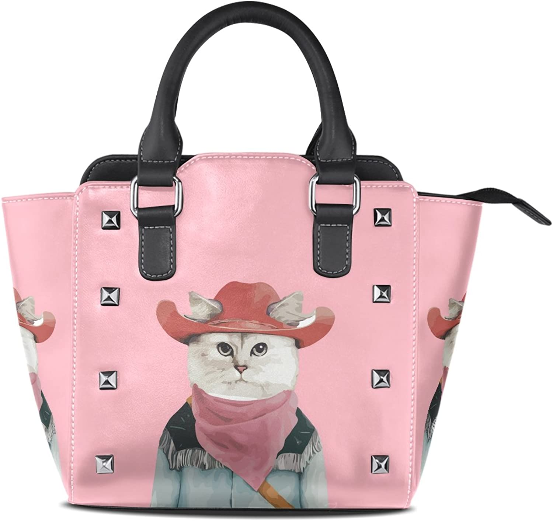My Little Nest Women's Top Handle Satchel Handbag Cool Cowboy Cat Pink Ladies PU Leather Shoulder Bag Crossbody Bag