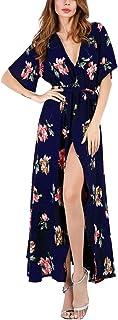 Mojonnie Floral Maxi Dresses, Women`s Summer Short Sleeve Split Wrap Long Dress