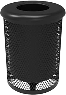 Coated Outdoor Furniture RFT-BLK 32 Gallon Round Trash Receptacle, Black Black Flat Top