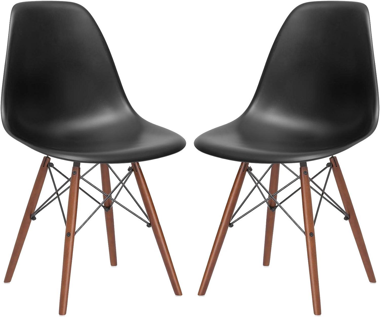 Poly and Bark Vortex Side Chair Walnut Legs, Black, Set of 2