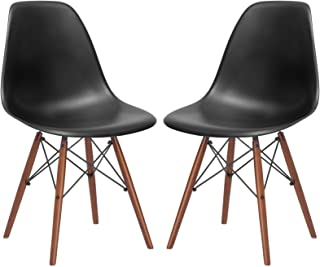 Poly and Bark Vortex Modern Mid-Century Side Chair with Wooden Walnut Legs for Kitchen, Living Room and Dining Room, Black (Set of 2)
