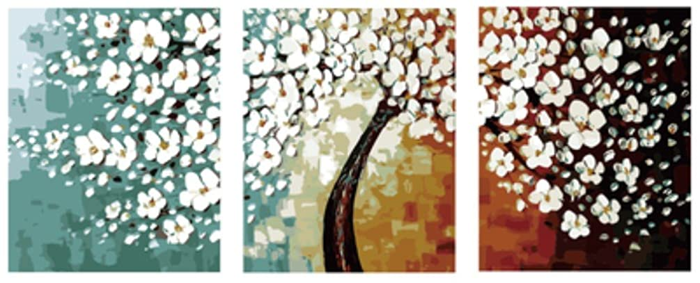 Wowdecor Paint by Numbers Kits for Adults Kids, Painting by Numbers 3 Pieces Pack - Beautiful White Plum Blossom Tree 16x20x3P inches (With Frame)