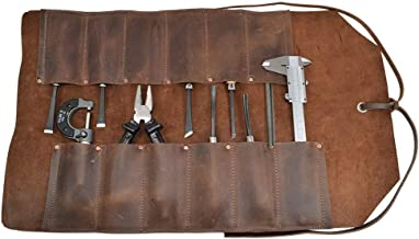 Leather Tool Roll, Big Tool Bag Snap Tool Barber Pencil Roll Pouch Handmade Multi Purpose Organizer Wrap for Craft Work