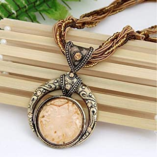 BAILIANHUA Vintage Necklace Jewelry Bohemian Style Multilayer Bead Chain Crystal Grain Pendant Necklace