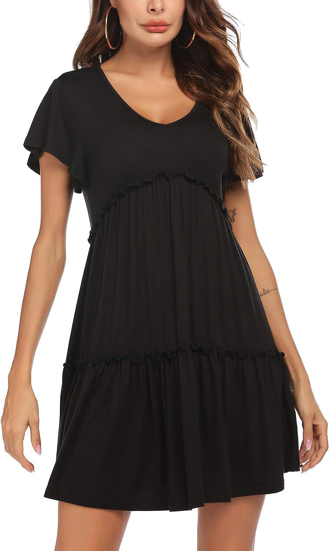 SoTeer Women's Summer Casual Short Sleeve Dress V Neck Loose Plain Dress Pleated Swing Shift Mini Dresses
