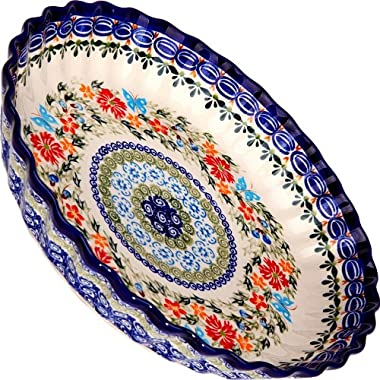 Polish Pottery Ceramika Boleslawiec,  1212/238, Pie Baker Small, 9 7/8 Inches in Diameter - 4 Cups, Royal Blue Patterns with Red Cornflower and Blue Butterflies Motif
