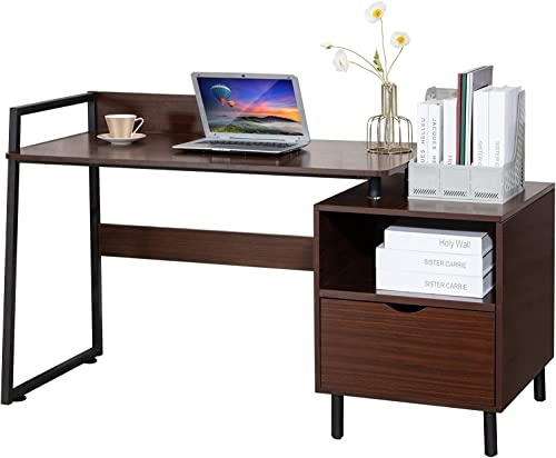 wholesale COSVALVE Computer popular Desk, 56'' Writing Study Table, new arrival Gaming Laptop Table with Storage Drawer and Baffle, Metal Frame, Home Office Table(Brown)… sale