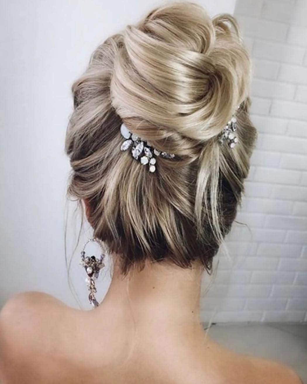 Unicra Peineta para el pelo de novia con cristales plateados, accesorio para el pelo para novia para mujeres y niñas (paquete de 2)