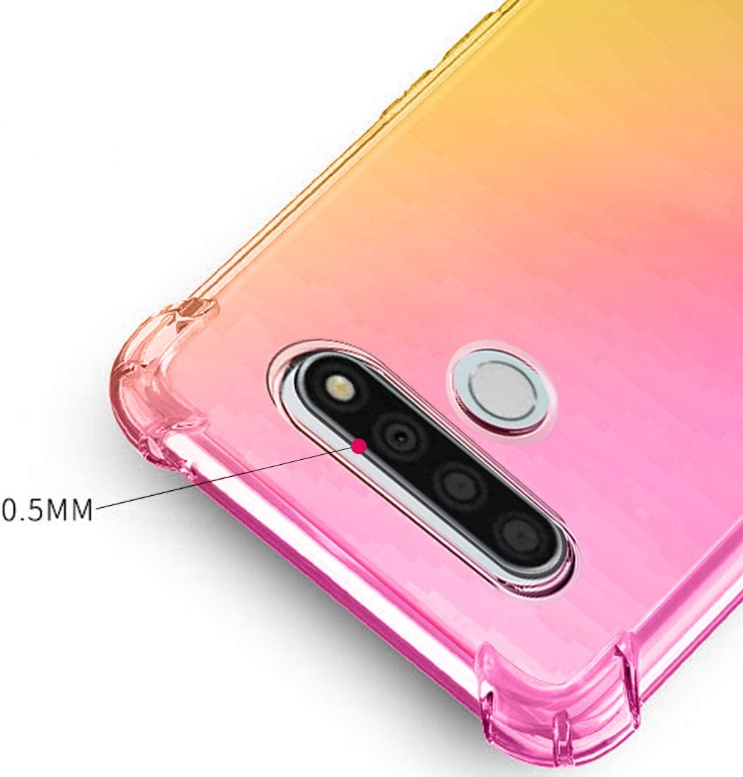 Osophter for LG Stylo 6 Case Clear Transparent Reinforced Corners TPU Shock-Absorption Flexible Cell Phone Cover for LG Stylo 6(Pink Gold)