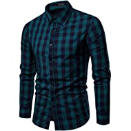 Boomboom Men Shirts, Mens Long Sleeve Oxford Formal Casual Slim Fit Tee Dress Plaid Shirts Blouse...