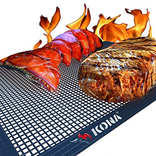 Kona Mesh BBQ Grill Mats - Heavy Duty 600 Degree Nonstick Mesh Grilling Mats (Set of 2) - 7 Year Warranty