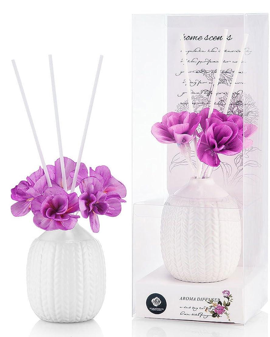 赤面眠り看板パステルカラー ルームフレグランス /芳香剤 アロマ スティック リードディフューザー (花:紫、香:ラベンダー)
