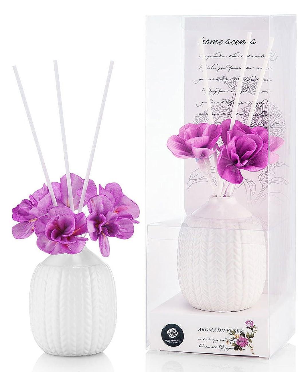 凝縮するスプリット机パステルカラー ルームフレグランス /芳香剤 アロマ スティック リードディフューザー (花:紫、香:ラベンダー)