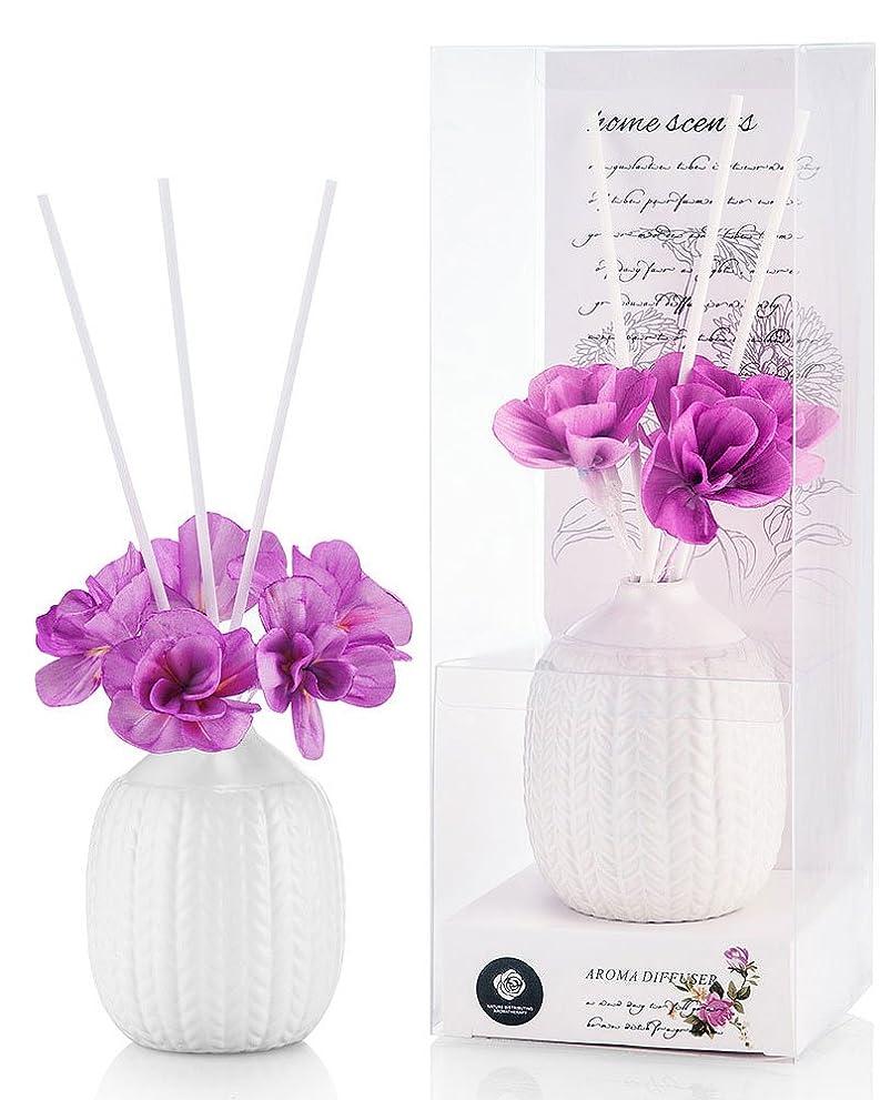 湖実験優しいパステルカラー ルームフレグランス /芳香剤 アロマ スティック リードディフューザー (花:紫、香:ラベンダー)