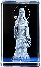 ZGPTX Crystal 3D Laser Statue Decor Gift Western Buddha Statue Crystal Inner Carving Ameda Buddha Guan Shiyin Odessa