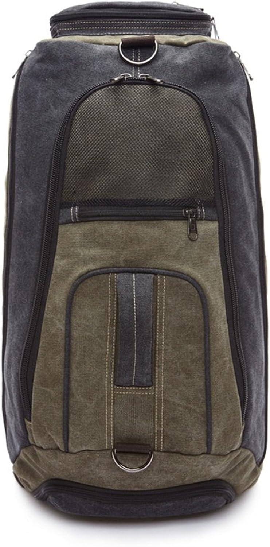 Men's Backpack Waterproof Vintage Zipper Shoulder Bags Camping Outdoors (color   Army Green)