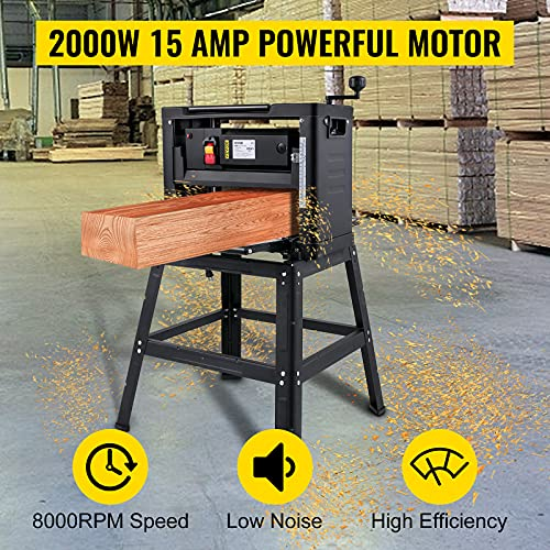 VEVOR Thickness Planer 12-Inch Benchtop Planer 2000W Wood Planer 8000 rpm Woodworking Planer 15 AMP Wood Planer Foldable 6m/min Planing Speed with Iron Stand Dust Exhaust for Woodworking Wooden Plank