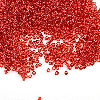 Hobby Perlas para Auff/ädeln Mini-Perlen Bastelperlen Perlin 450 g Rocailles Perlas 3 mm Rojo Opak Perlas de Cristal Bola 15000 Unidades 8//0 Textil-Perlen