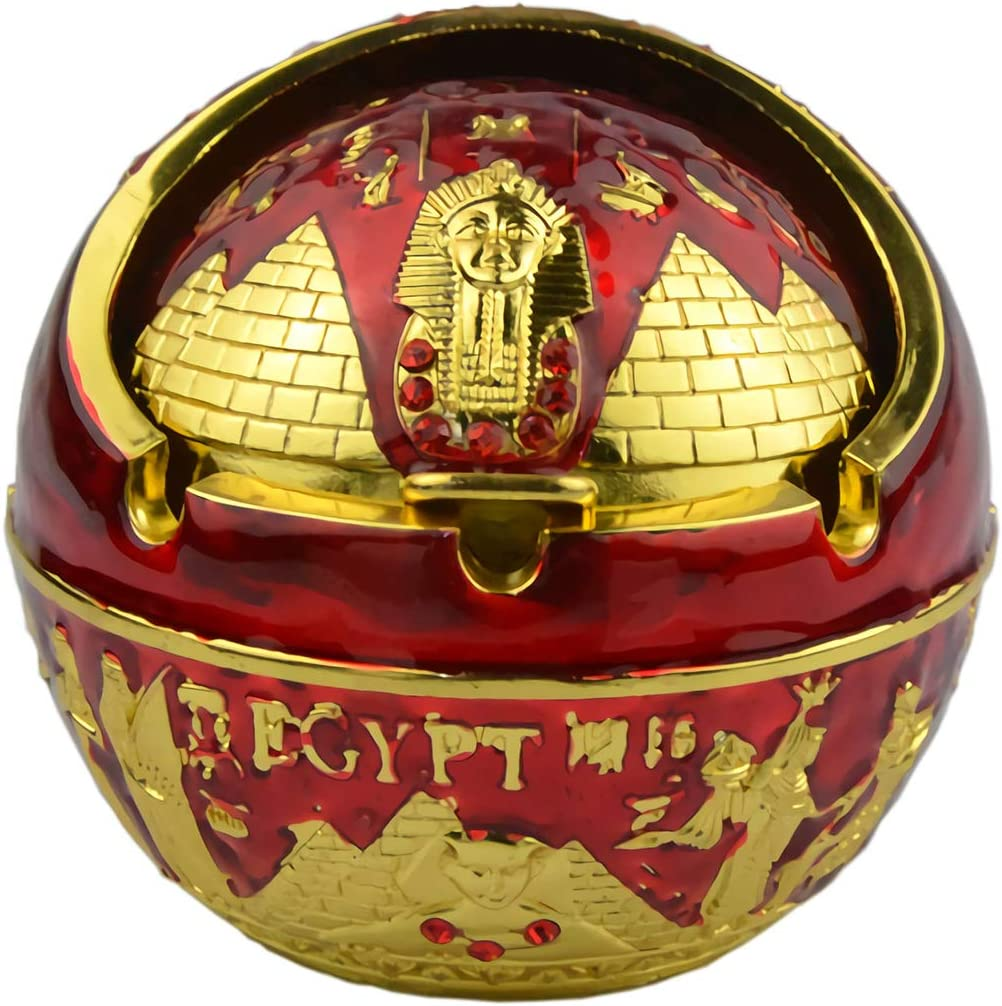 Exquisite Exotic Ball Ashtray Ancient Egypt Egyptian Style Pyramid of Pharaoh Pattern Spherical Pattern Windproof Ashtray Home Office Decoration Perfect Father's Day Dad Gift Business Gift (A2 Red)