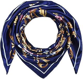 35 بوصة مربع للنساء حريري شعور الأوشحة وشاح الرأس للنوم زهور الترامارين زرقاء