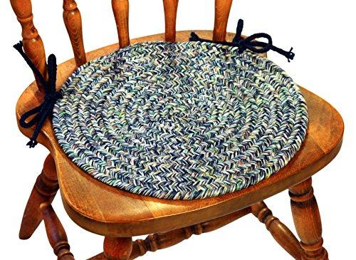 Sabrina Tweed Chair Pads, 15 by 15-Inch, Denim, Set of 4