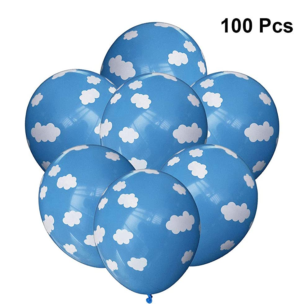 記者博覧会クレジットLEDMOMO 100個バルーン空雲プリントラテックス風船パーティー結婚式の装飾12インチ(ブルー)