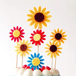 Playstyle 10Pack Multicolors Sunflower Cupcake Toppers Food Picks, Sunflower Cup Cake Toppers Decorations, Kids' Gathering DIY Home Summer Theme Party Food Fruit Cake Picks for Baby Shower Decor