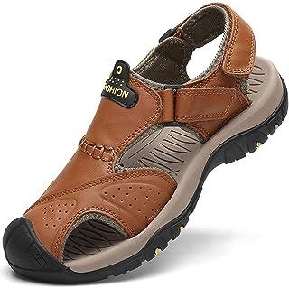 FLARUT Homme Sandales de Randonnée Orteil Fermé Crochet&Boucle De Plein air Randonnée Cuir Chaussures