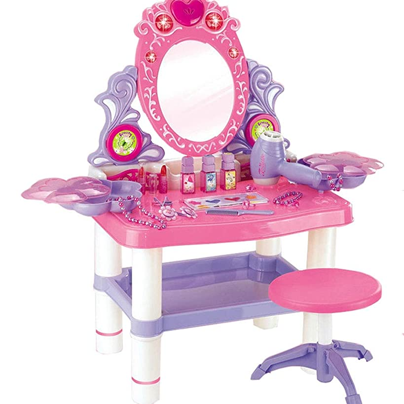 Kids Fantasy Vanity Dresser Table Pretend Play Cosmetic and Makeup Toy Set Kit for Little Girls & Kids Include Toys Fashion & Makeup Accessories (Color : Pink, Size : 623364.5cm)