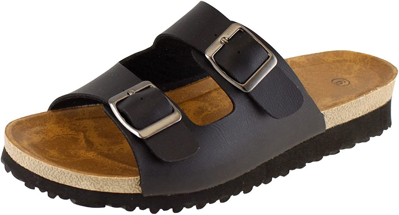 Cambridge Select Women's 2-Strap Buckle Slip-on Flat Platform Slide Sandal