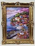 Cuadro con diseño de vista marina y barcos de velero con imagen de casa en el lago, lugar de ensueño barroco, marco de 90 x 70 cm, cuadro con marco de rosas antiguas para pared de terrazas panorámicas