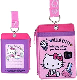Hello Kitty 2-Sided ID Badge Holder Cash Credit Card Wallet Case with Lanyard, ID Window, Front Slot & Zipper Pocket