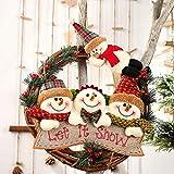 Aceshop Guirnaldas de Decoración de Navidad de Ratán Santa Muñeco de Nieve Muñeca Árbol de Ratán Adorno Colgante para el Hogar Árbol de Navidad Corona de Ventana y Decoraciones para Fiestas de Navidad