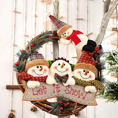 Aceshop Décor de Noël Couronne de rotin Ornements de Noël Guirlande Suspendue Père Noël Bonhomme de Neige Poupée Rotin Pendentif Ornement pour la Maison Arbre de Noël, Guirlande de Fenêtre